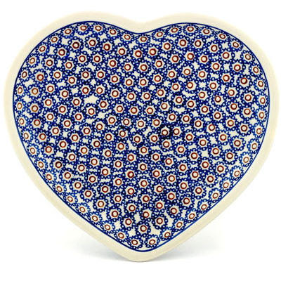 "Polish Pottery Heart Shaped Platter 11"" Daisy Stamps"