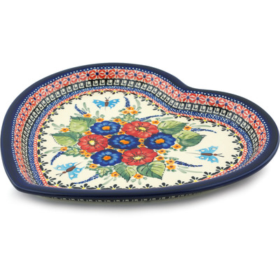 "Polish Pottery Heart Shaped Platter 11"" Spring Splendor UNIKAT"