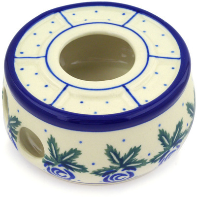 "Polish Pottery Heater 4"" Blue Rose"