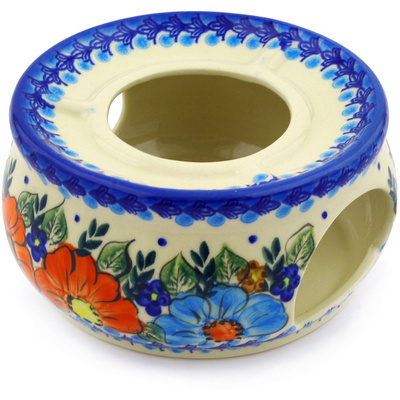 "Polish Pottery Heater 6"" Bold Poppies UNIKAT"