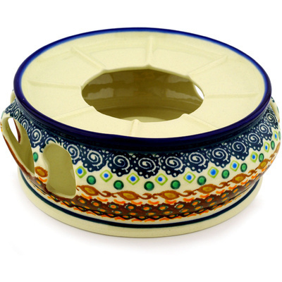 "Polish Pottery Heater 7"" Artichoke Heart UNIKAT"