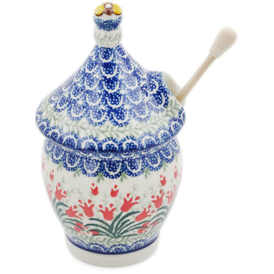 Polish Pottery Honey Jar 12 oz Crimson Bells