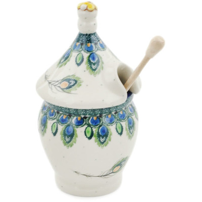 Polish Pottery Honey Jar 12 oz Peacock Feather