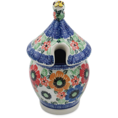 Polish Pottery Honey Jar 12 oz Primary Flowers UNIKAT