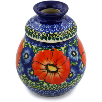 Polish Pottery Honey Jar 16 oz Red Star UNIKAT