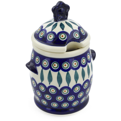 Polish Pottery Honey Jar 25 oz Peacock Leaves