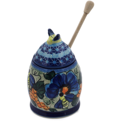 "Polish Pottery Honey Jar with Dipper 6"" Corn In The Blue UNIKAT"