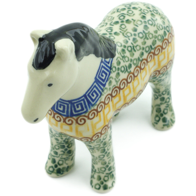 "Polish Pottery Horse Figurine 6"" Mediterranean Sea"