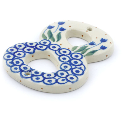Polish Pottery House Number EIGHT (8) 4-inch Blue Tulip Circle