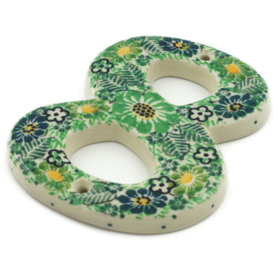Polish Pottery House Number EIGHT (8) 4-inch Green Wreath UNIKAT