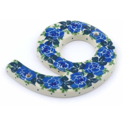 Polish Pottery House Number NINE (9) 4-inch Blue Garland