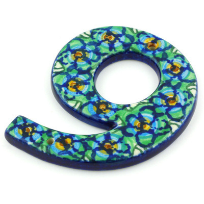 Polish Pottery House Number NINE (9) 4-inch Mardi Gra UNIKAT