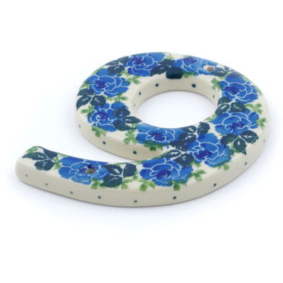 Polish Pottery House Number Six (6) 4-inch Blue Garland