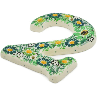 Polish Pottery House Number TWO (2) 4-inch Green Wreath UNIKAT