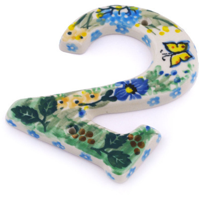 Polish Pottery House Number TWO (2) 4-inch Spring Garden UNIKAT
