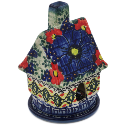 "Polish Pottery House Shaped Candle Holder 5"" Aztec Flowers UNIKAT"