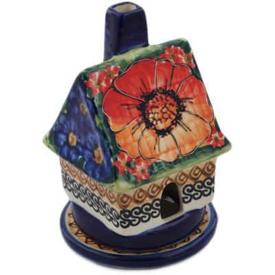 "Polish Pottery House Shaped Candle Holder 5"" Bright Beauty UNIKAT"