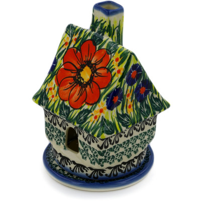 "Polish Pottery House Shaped Candle Holder 5"" Wild Bouquet UNIKAT"