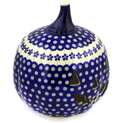 "Polish Pottery Jack O Lantern Candle Holder 9"" Flowering Peacock"