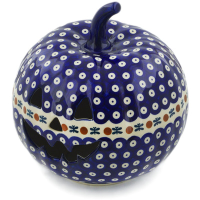 "Polish Pottery Jack O Lantern Candle Holder 9"" Mosquito"