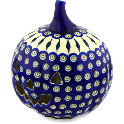 "Polish Pottery Jack O Lantern Candle Holder 9"" Peacock Leaves"