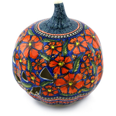 "Polish Pottery Jack O Lantern Candle Holder 9"" Poppies UNIKAT"