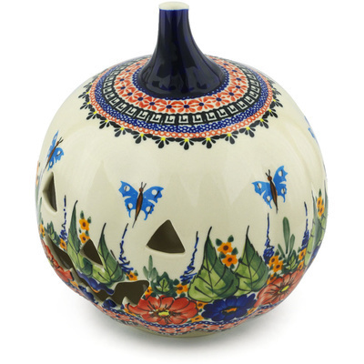 "Polish Pottery Jack O Lantern Candle Holder 9"" Spring Splendor UNIKAT"