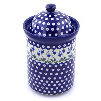 "Polish Pottery Jar with Lid 11"" Bleeding Heart Peacock"