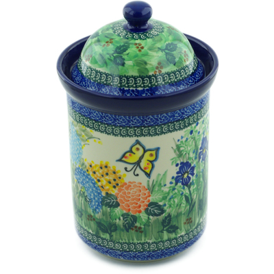 "Polish Pottery Jar with Lid 11"" Spring Garden UNIKAT"