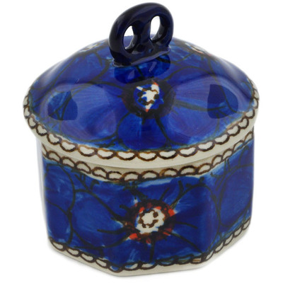 "Polish Pottery Jar with Lid 3"" Cobalt Poppies UNIKAT"