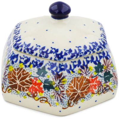 "Polish Pottery Jar with Lid 4"" Autumn Falling Leaves UNIKAT"