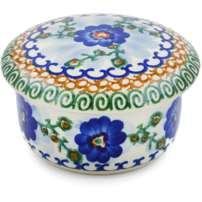 "Polish Pottery Jar with Lid 4"" Blue Poppy Circle UNIKAT"