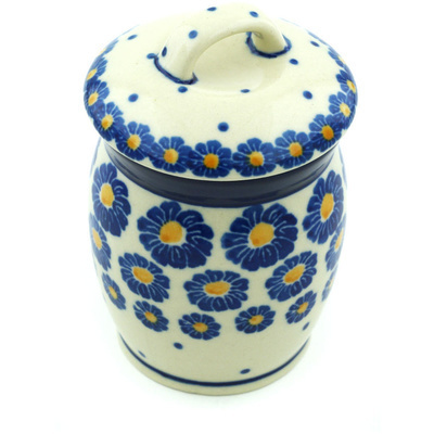 "Polish Pottery Jar with Lid 4"" Blue Zinnia"