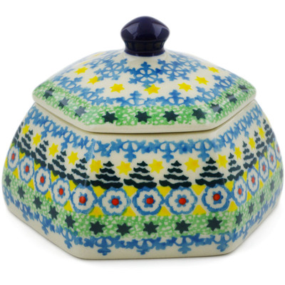 "Polish Pottery Jar with Lid 4"" Christmas Forest UNIKAT"