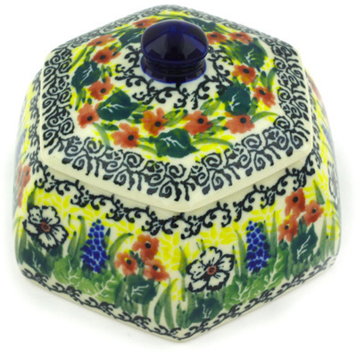 "Polish Pottery Jar with Lid 4"" Copper Rose Meadow UNIKAT"