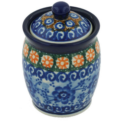 "Polish Pottery Jar with Lid 4"" Dancing Blue Poppies UNIKAT"