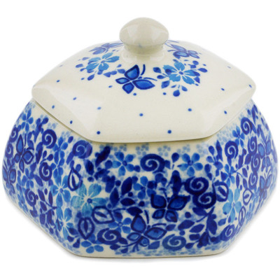 "Polish Pottery Jar with Lid 4"" Delicate Blue UNIKAT"