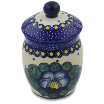 "Polish Pottery Jar with Lid 4"" Flower In The Grass UNIKAT"