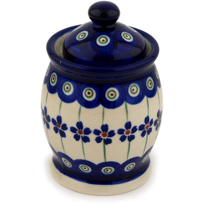 "Polish Pottery Jar with Lid 4"" Flowering Peacock"