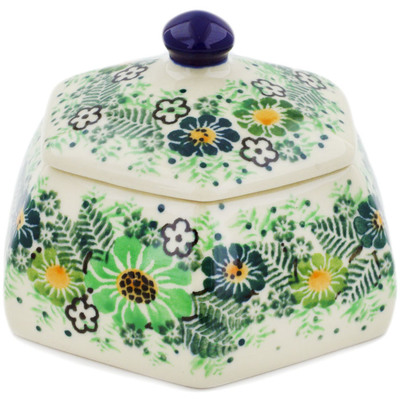 "Polish Pottery Jar with Lid 4"" Green Wreath UNIKAT"
