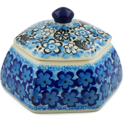 "Polish Pottery Jar with Lid 4"" Out Of Blue UNIKAT"