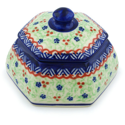 "Polish Pottery Jar with Lid 4"" Poinsettia UNIKAT"