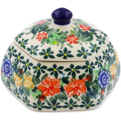 "Polish Pottery Jar with Lid 4"" Red Bouquet UNIKAT"