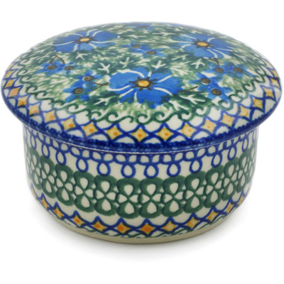 "Polish Pottery Jar with Lid 4"" Wild Diamonds UNIKAT"