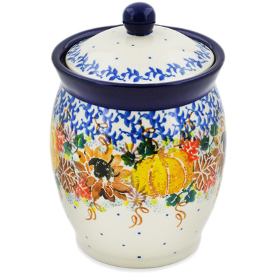 "Polish Pottery Jar with Lid 5"" Autumn Falling Leaves UNIKAT"
