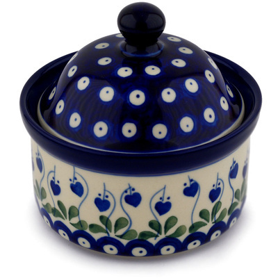 "Polish Pottery Jar with Lid 5"" Bleeding Heart Peacock"