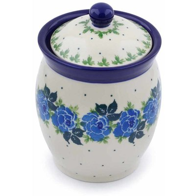 "Polish Pottery Jar with Lid 5"" Blue Rose"