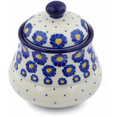 "Polish Pottery Jar with Lid 5"" Blue Zinnia"