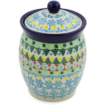 "Polish Pottery Jar with Lid 5"" Christmas Forest UNIKAT"