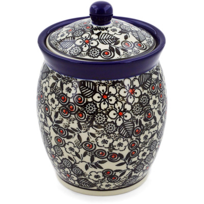 "Polish Pottery Jar with Lid 5"" Classic Black And White UNIKAT"